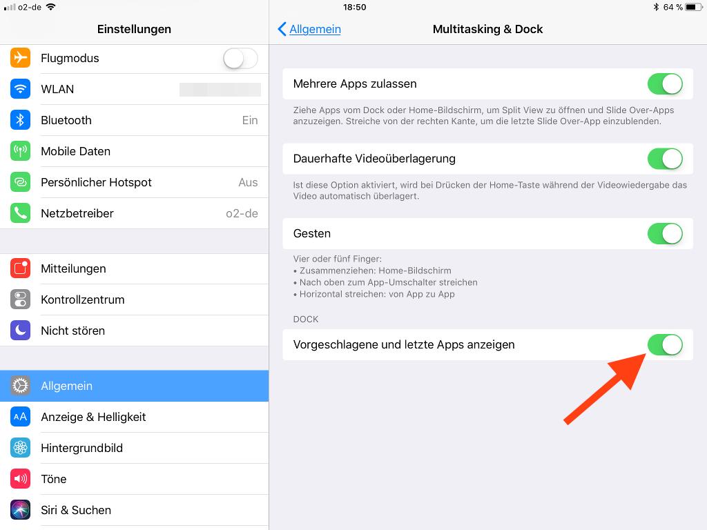 Vorgeschlagene und letzte Apps im Dock des Apple iPad entfernen Vorgeschlagene und letzte Apps anzeigen