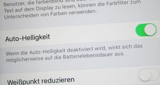 Automatische Helligkeit beim Apple iPhone und iPad ein- und ausschalten
