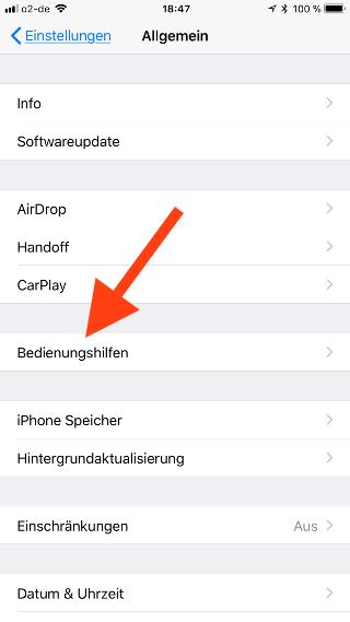 Automatische Helligkeit beim Apple iPhone und iPad ein- und ausschalten Bedienungshilfen aufrufen
