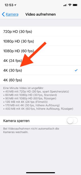 4K-Videoaufzeichnung auf dem Apple iPhone einstellen Videomodus wählen
