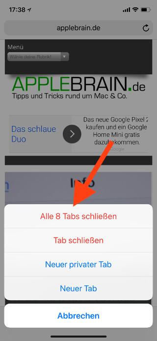 Alle Tabs gleichzeitig im Safari Browser unter iOS schließen Tabs schließen