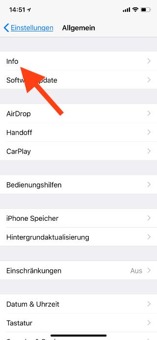 Name des Apple iPhone ändern Info wählen