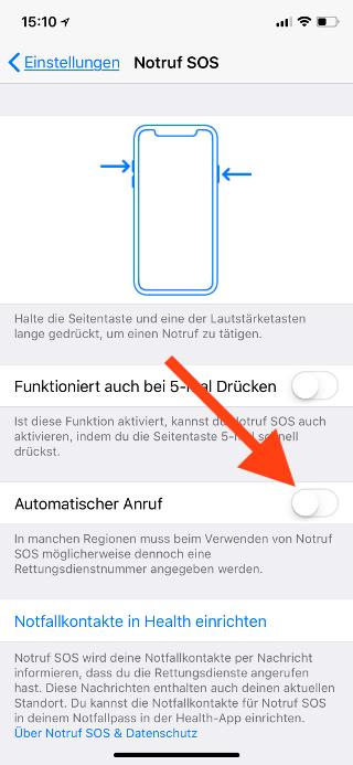 SOS-Notruffunktion auf dem Apple iPhone 8, 8 Plus und X abschalten Automatischer Anruf ausschalten