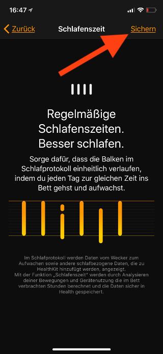 Schlafenszeit auf dem Apple iPhone aktivieren Einstellungen sichern