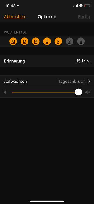 Schlafenszeit auf dem Apple iPhone aktivieren Optionen