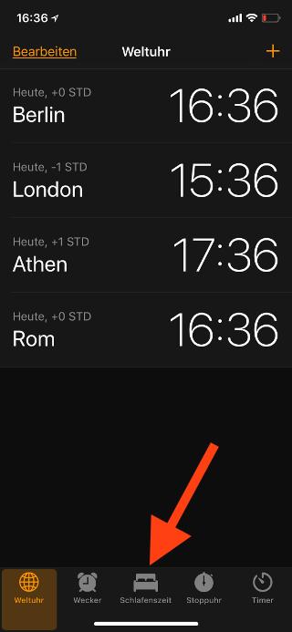 Schlafenszeit auf dem Apple iPhone aktivieren Schlafenszeit anwählen
