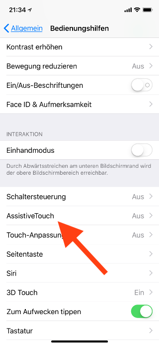 Virtuellen Homebutton (AssistiveTouch) für das Apple iPhone X konfigurieren AssistiveTouch anwählen