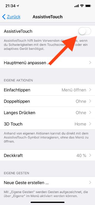 Virtuellen Homebutton (AssistiveTouch) für das Apple iPhone X konfigurieren AssistiveTouch einschalten