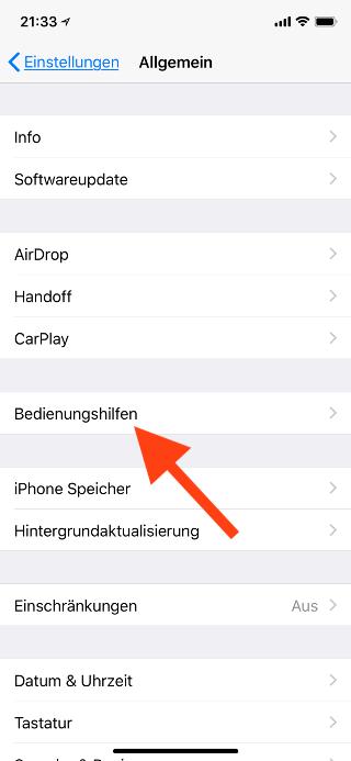 Virtuellen Homebutton (AssistiveTouch) für das Apple iPhone X konfigurieren Bedienungshilfen öffnen