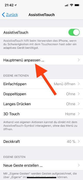 Virtuellen Homebutton (AssistiveTouch) für das Apple iPhone X konfigurieren Hauptmenü aufrufen