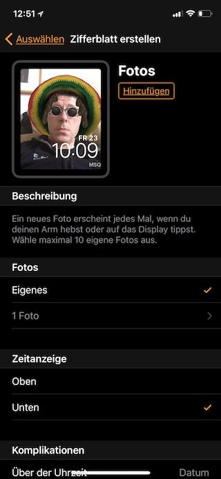 Apple Watch Zifferblatt aus Fotos erstellen Zifferblatt Einstellungen ändern