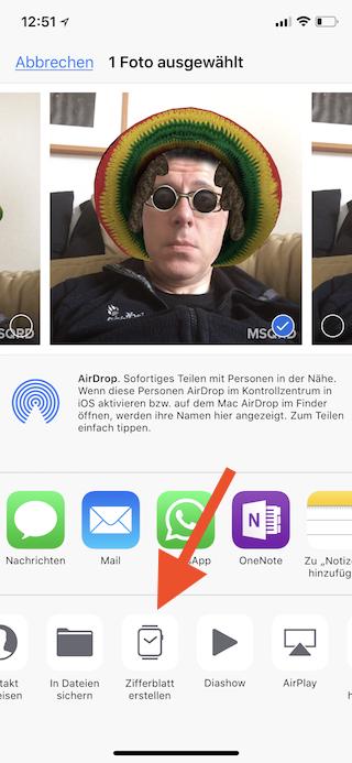 Apple Watch Zifferblatt aus Fotos erstellen Zifferblatt erstellen anwählen