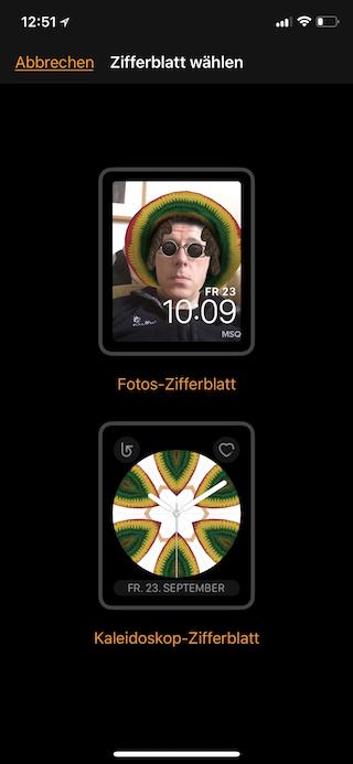 Apple Watch Zifferblatt aus Fotos erstellen Zifferblatt wählen