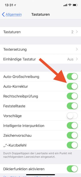 Auto-Korrektur unter iOS abschalten Auto-Korrektur abschalten