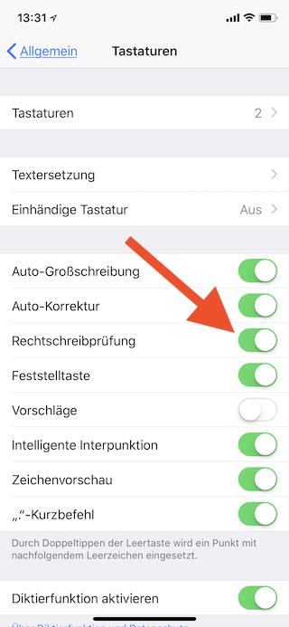 Auto-Korrektur unter iOS abschalten Rechtschreibprüfung abschalten