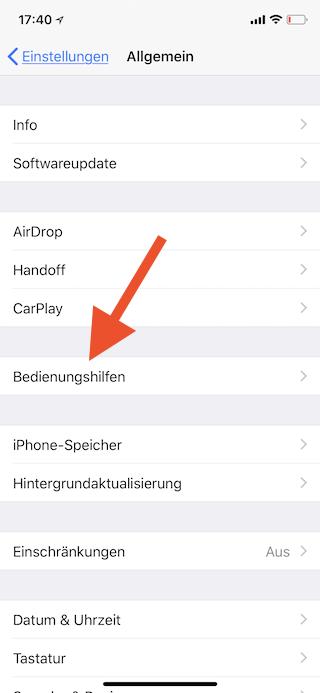 Dreifachklick der Seitentaste des Apple iPhone mit einer Funktion belegen Bdienungshilfen öffnen