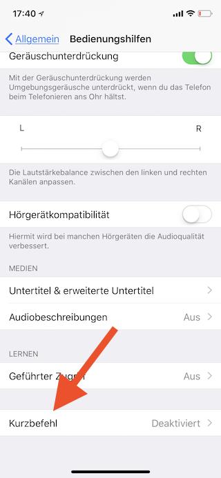 Dreifachklick der Seitentaste des Apple iPhone mit einer Funktion belegen Kurzbefehl aufrufen