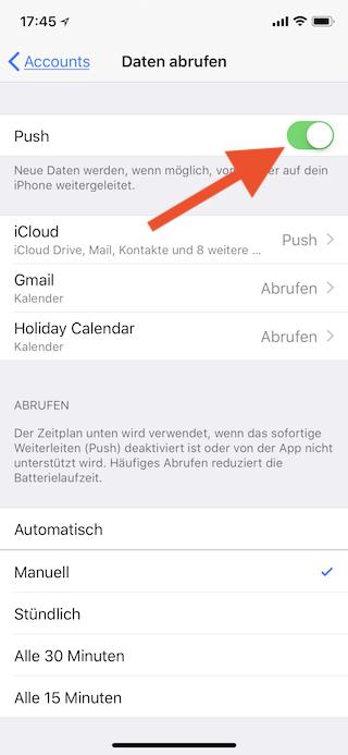 Push-Mail abschalten und E-Mails manuell abrufen Push abschalten