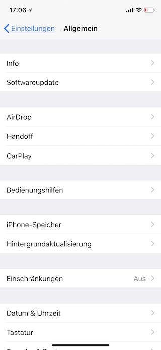 Stromsparen beim Apple iPhone Bedienungshilfe aufrufen