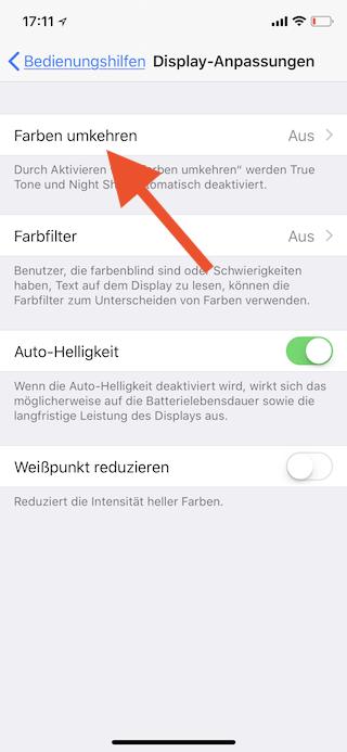 Stromsparen beim Apple iPhone Farben umkehren auswählen