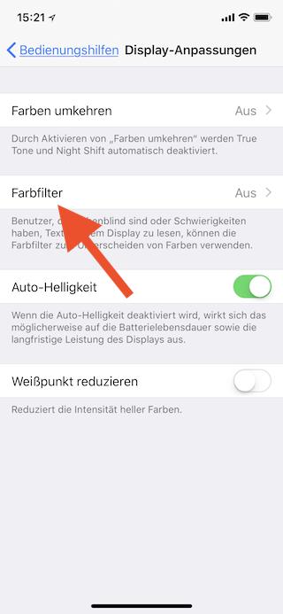 Stromsparen beim Apple iPhone Farbfilter aufrufen