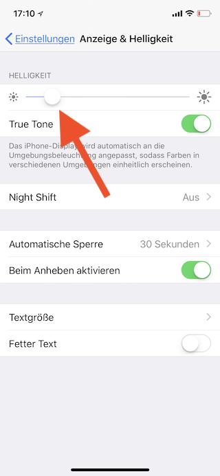 Stromsparen beim Apple iPhone Helligkeit einstellen