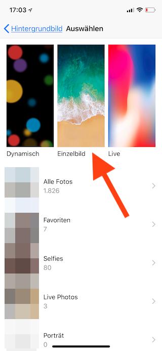 Stromsparen beim Apple iPhone Hintergrundbild auswählen