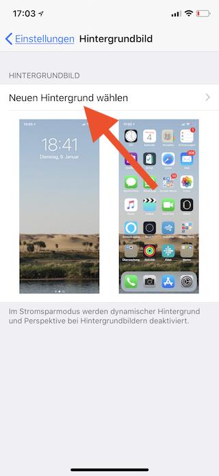 Stromsparen beim Apple iPhone Neuen Hintergrund wählen