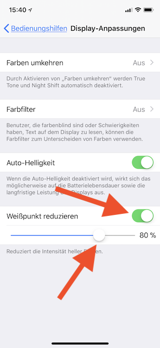 Stromsparen beim Apple iPhone Weißpunkt reduzieren