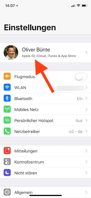 iCloud-Backup unter iOS manuell starten Apple ID anwählen