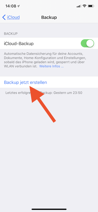iCloud-Backup unter iOS manuell starten Backup jetzt erstellen