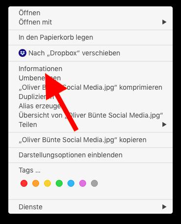 Dateityp anderen macOS-Apps zuweisen Informationen auswählen