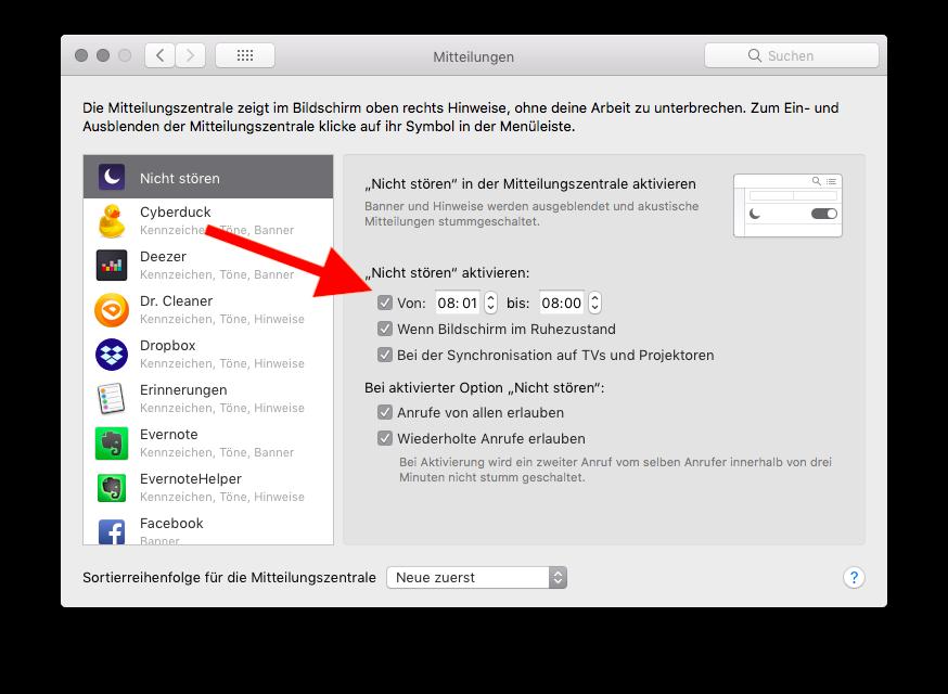 Mitteilungsbenachrichtigungen am Mac abstellen Nicht stören aktivieren