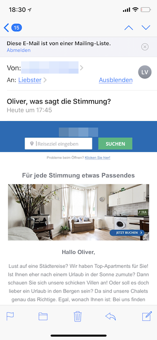 Newsletter unter iOS in Mail abmelden Abmelden antippen