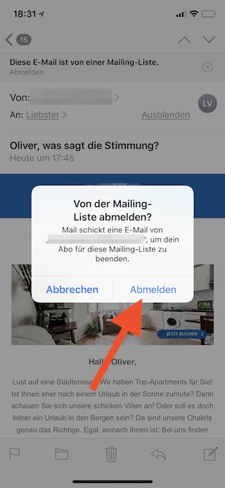 Newsletter unter iOS in Mail abmelden Abmeldung bestätigen