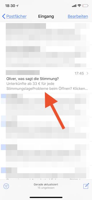 Newsletter unter iOS in Mail abmelden E-Mail öffnen