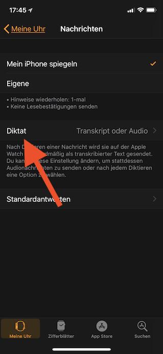 Sprachnachrichten mit der Apple Watch automatisch als Textnachricht versenden Diktat auswählen