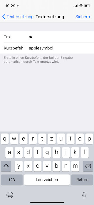Apple-Logo als Emoji auf dem Apple iPhone iPad und Mac einsetzen Kurzbefehl eingeben und sichern