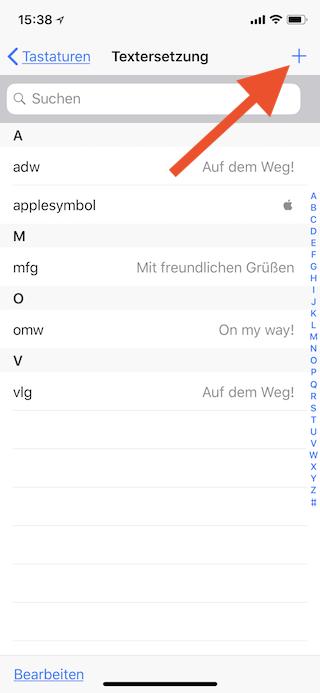 Apple-Logo als Emoji auf dem Apple iPhone iPad und Mac einsetzen Neue Textersetzung anlegen