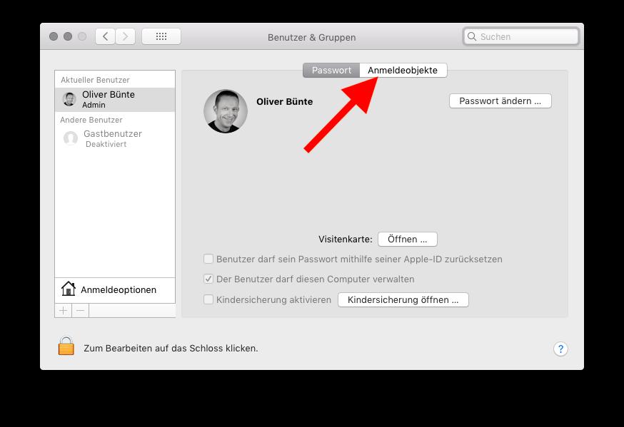 Autostart von Programmen unter macOS verwalten Anmeldeobjekte wählen