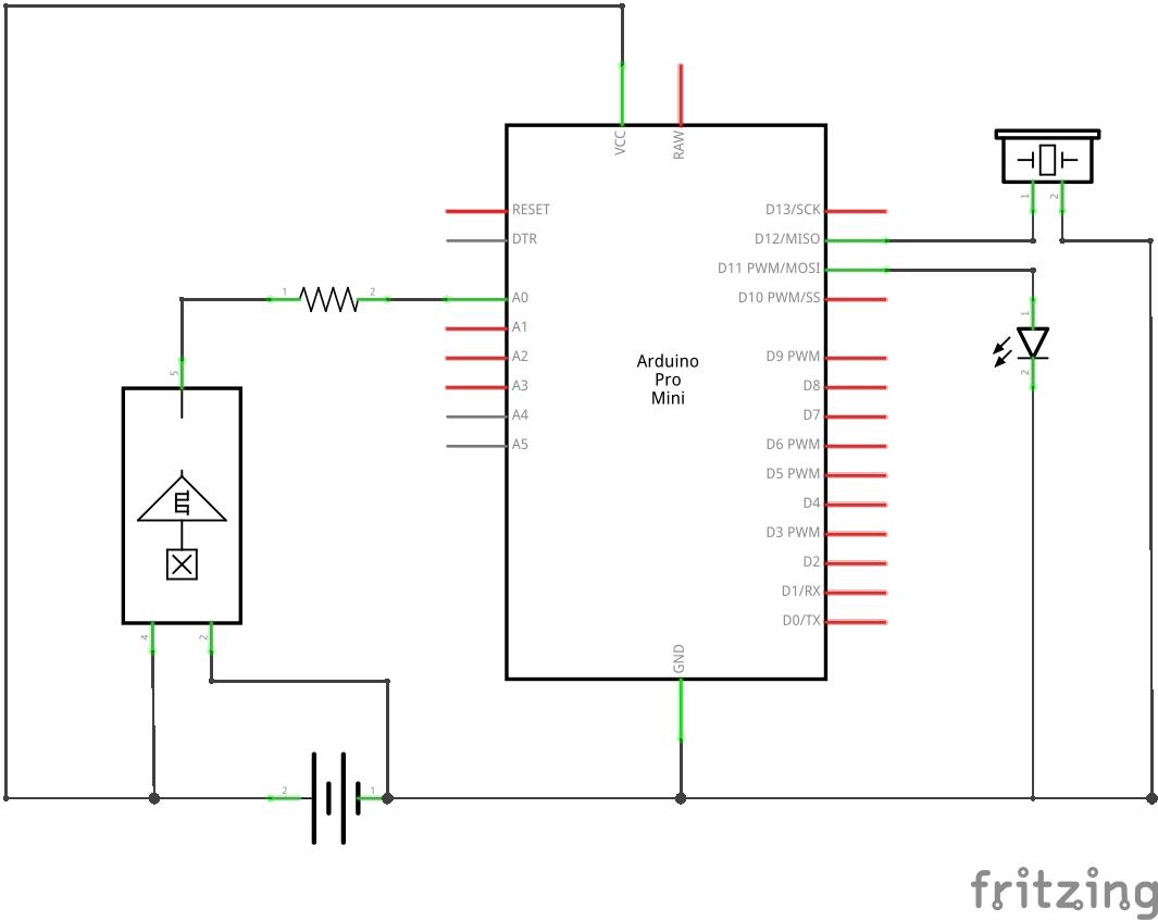 Bag-y Taschenalarm und Innenbeleuchtung mit Arduino Pro mini Bag-y Schaltplan
