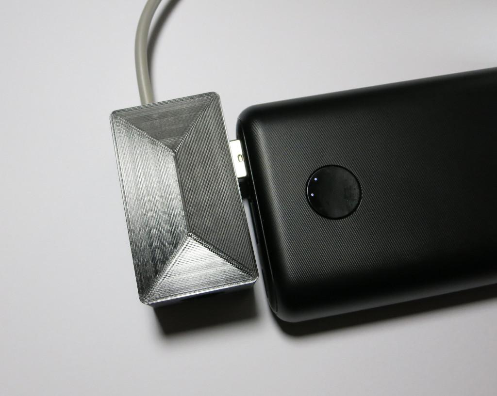 Bag-y Taschenalarm und Innenbeleuchtung mit Arduino Pro mini Bag-y an Powerbank