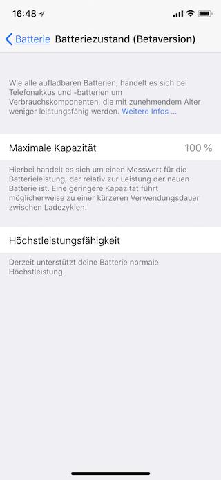 Akkuzustand des Apple iPhone ermitteln Anzeige Batteriezustand