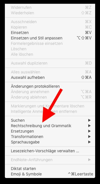 Autokorrektur auf dem Mac ausschalten Rechtschreibung und Grammatik anwählen