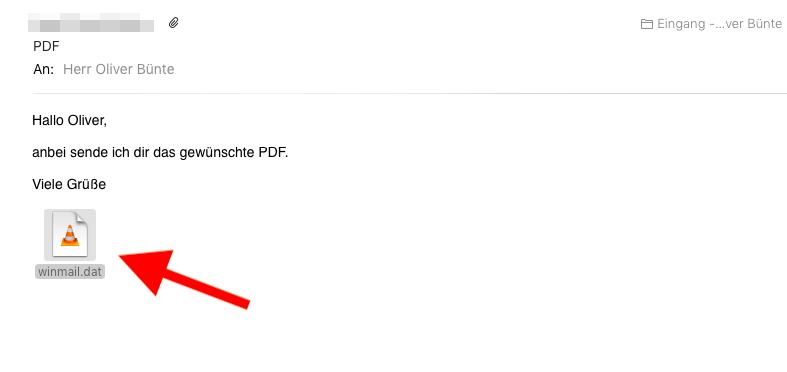 E-Mail-Anhang winmail.dat mit Bordmitteln des Mac öffnen winmail.dat Rechtsklick