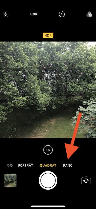 Bessere Panorama-Fotos mit dem Apple iPhone aufnehmen Pano-Funktion auswählen