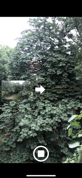 Bessere Panorama-Fotos mit dem Apple iPhone aufnehmen Pfeil auf Linie halten