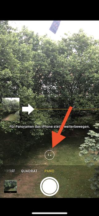 Bessere Panorama-Fotos mit dem Apple iPhone aufnehmen Zoom umschalten