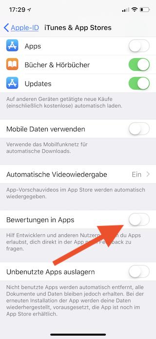 In-App-Bewertungen auf dem Apple iPhone und iPad ausschalten Bewertungen in Apps ausschalten