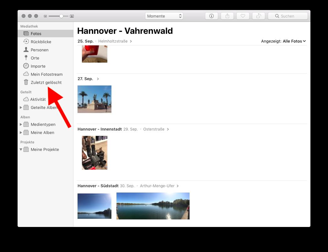 In der Fotos-App gelöschte Fotos auf dem Mac wiederherstellen Gelöschte Fotos aufrufen